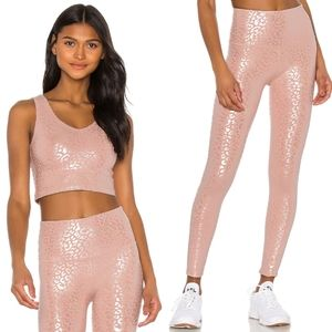 Beyond Yoga Shiny Leopard Tank and Leggings Set